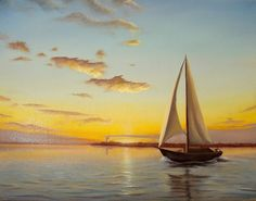 Sailboat painting sunset seascape original oil