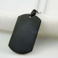 """► NYHET  Blanksvart Dog Tag """"Single Black"""" med 70 cm kedja för endast 99:- inklusive frakt! Happy Shopping!"""