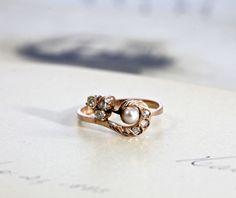 Promise ring!!  Antique Art Nouveau Ring, Rose Cut Diamond & Pearl, Edwardian 14k Rose Gold Circa 1905, Promise Engagement Ring