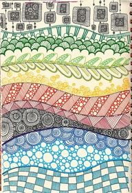 Rainbow, with pen and different patterns