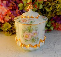 Beautiful Vintage Limoges Porcelain Hand Painted Cracker Biscuit Jar ~ Gold Gilt #Limoges