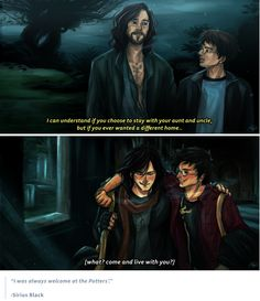 It was important to Sirius to be there for Harry when he needed it most, and this talented artist made us cry with this reflection through time. << I totally mistook Harry for James in that second pic until I noticed his scar Harry Potter World, Harry Potter Marauders, Harry Potter Fan Art, Harry Potter Universal, Harry Potter Fandom, Harry Potter Memes, The Marauders, Potter Facts, Hogwarts