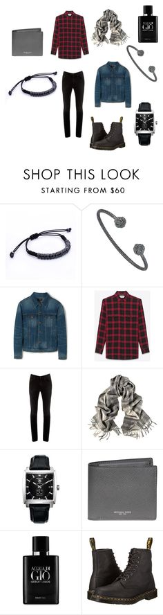 """""""Casual Sunday"""" by atolyestone ❤ liked on Polyvore featuring MANGO, Yves Saint Laurent, Acne Studios, TAG Heuer, Michael Kors, Giorgio Armani, Dr. Martens, men's fashion and menswear"""