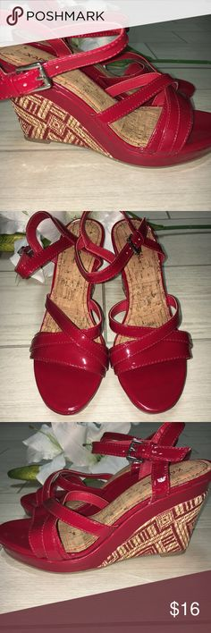 🆕X-Appeal Patent Red Wedge 8 VERY pretty deep red patent sandals. Size 8. Brand new but I don't have the box. 4 inch wedge heel. Very comfortable. Xappeal Shoes Wedges