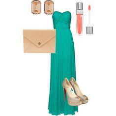 Turquoise Gown, created by rachel-elizabeth-joyner on Polyvore
