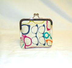 Palm Clutch in Eyeglass Print by bagsbystacey on Etsy