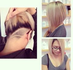 undercut to get rid of some of the bulk for thick hair. :) Can even add some designs. Trending Hairstyles, Pretty Hairstyles, Short Hair Cuts, Short Hair Styles, Hair Tattoos, Undercut Hairstyles, Nape Undercut, Shaved Hair, Great Hair