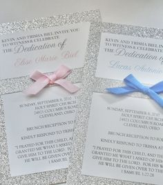 Baptism Invitation Sparkle and Ribbon by PaperItBeautiful on Etsy, $3.50