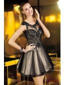 Sleeveless Pleated Tulle Short Dress With Cut Out Back