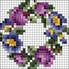 Violet & blue flowers wreath chart