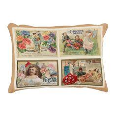 Flower Seeds Vintage Collage Pillow by VintageArtBazaar. http://www.zazzle.com/vintageartbazaar* #pillows #vintage #FlowerSeeds #gardening