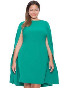 Jade Green Studio Cape Dress | Women's Plus Size Dresses | ELOQUII