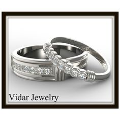 Matching Wedding Band Set For His And Hers,Unique Diamond Ring... ($2,000) ❤ liked on Polyvore featuring jewelry, rings, wedding jewellery, wedding rings, wedding jewelry, wedding set ring and diamond wedding jewelry