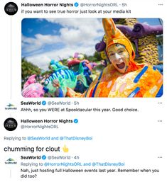 SeaWorld has gotten a bit sassy. In the past year the SeaWorld Twitter account has become less corporate and more personal. This has led to more engagement and a bit of a friendly quarrel with the Halloween Horror Nights social team. See True, Seaworld Orlando, Halloween Horror Nights, Work With Animals, Rap Songs, Sea World, Sassy, The Past, Things To Come