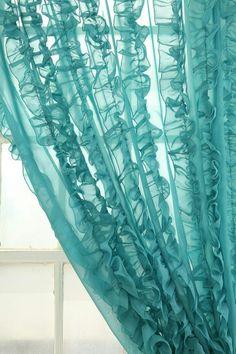 Aqua/Turquoise Cottage •~• ruffled curtains