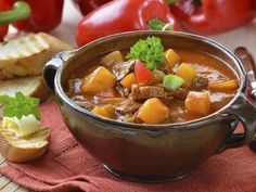 Photo about Typical Hungarian goulash soup with baguette. Image of kitchen, goulash, herb - 21174770 Diet Soup Recipes, Vegetable Soup Recipes, Vegetable Stew, Cooking Recipes, Tomato Vegetable, Healthy Soup, Healthy Recipes, Cheesy Potato Soup, Celerie Rave