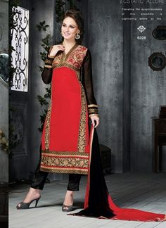 Hot Red With Black Georgette Embroidery Work Designer Festival Churidar Suit