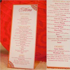 Wedding reception menu card