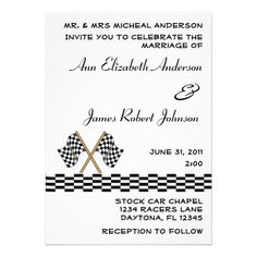 Checkered Flag Racing Wedding Invitation