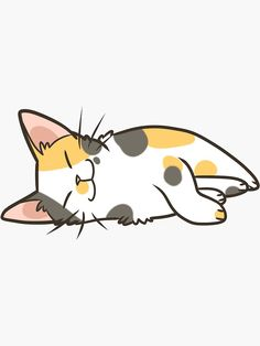 Buy 'Sleeping Calico' by pawlove as a Sticker, Transparent Sticker, Glossy Sticker, or Acrylic Block Cute Cat Drawing, Cute Animal Drawings, Animal Sketches, Cute Drawings, Cat Lover Gifts, Cat Gifts, Gato Calico, Calico Cats, Cat Doodle