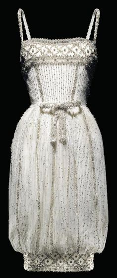 Dior Armide Dress - HC - FW 1959-60 - Design by Yves Saint Laurent - Short evening dress in white tulle with silver sequins - @~ Watsonette