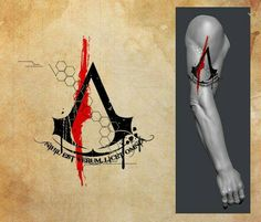 Okay these are, like the title says, Assassin's Creed tattoo designs. I am a big Assassin's Creed fan and have wanted an AC tattoo for a while now. Assassins Creed Tattoo, Tatuajes Assassins Creed, Assassins Creed Game, Trendy Tattoos, Tattoos For Guys, Body Art Tattoos, Sleeve Tattoos, Assassin's Creed Wallpaper, All Assassin's Creed
