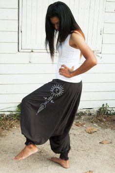 30021681bc2 Women Yoga Harem Pants Drop Crotch Aladdin Pants Maxi Baggy Pants Moon  Unalome Hand Screen Printed 100% Cotton Tshirt fabric