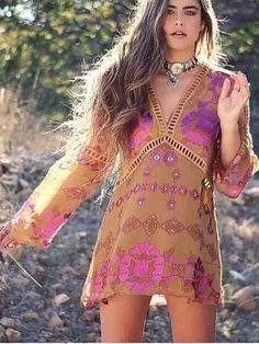 Floral boho v-neck dress - Floral boho v-neck dressWaistline: EmpireSleeve Style: Flare SleeveDresses Length: Above Knee, MiniNeckline: V-NeckSilhouette: A-LineFabric Type: Chiffon - On Sale for $29.00 (was $38.00)