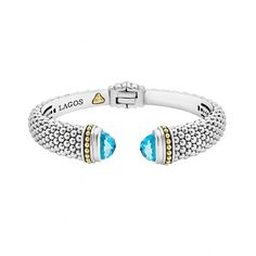 A LAGOS.com exclusive. Expertly crafted Caviar beading with highly polished sterling silver stations comprise this innovative bracelet detailing faceted London blue topaz gemstone end caps. Finished with a hinge clasp.