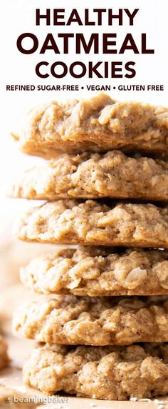 Healthy Oatmeal Cookies - Beaming Baker Healthy Oatmeal Recipes, Healthy Oatmeal Cookies, Oatmeal Cookie Recipes, Delicious Cookie Recipes, Healthy Dessert Recipes, Baking Recipes, Healthy Treats, Healthy Baking, Paleo Recipes