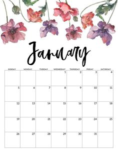 Free printable calendar of January 2020 – Floral. Watercolor flower design calendar pages for a home office or calendar for … Cute Calendar, Printable Calendar Template, Kids Calendar, Blank Calendar, Print Calendar, 2021 Calendar, Calendar Pages, Printable Planner, Wall Calendars
