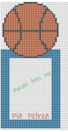 Basketball photo frame (Ikea Nyttja 13 × 18 cm) perler pattern by Pia Petrea