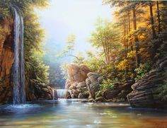 Oleg Bylgakov artwork Waterfall for sale and offering more original artworks in Painting medium and Landscape theme. Contemporary artist website Contemporary Painter, Artist from Krasnodar Russian Federation. River Painting, Oil Painting Abstract, Abstract Canvas, Artist Painting, Painting Tips, Waterfall Paintings, Rhinestone Art, Summer Painting, Country Landscaping