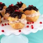 Gluten Free Cream Puffs with a Pomegranate Cheesecake Filling