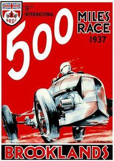 1931 Brooklands Bentley Motor Racing Poster A3 Reprint