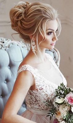 messy wedding hairstyle idea via Elstile