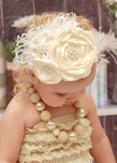 Baby Headband..Ivory Headband..Couture Headband..Over the Top..Newborn Headband..Satin Headband..Toddler Headband..Fascinator on Etsy, $22.95