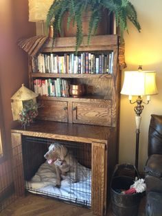 Here we have fabulous DIY dog crate ideas. So these are the ways to mixture a dog crate into your living room decoration and keep your energetic puppy off Dog Kennel Cover, Diy Dog Kennel, Diy Dog Bed, Kennel Ideas, Dog Kennels, Homemade Dog Bed, Dog Beds, Dog Crate Furniture, Shelf Furniture