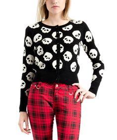 Look what I found on #zulily! Black & White Skull Cardigan #zulilyfinds