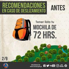 Mantenga preparada su mochila de las 72 horas.