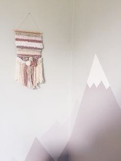 mountain mural and wall hanging for babys nursery