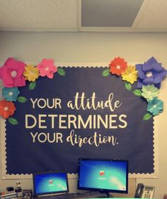 Your attitude determines your direction. Bulletin board ideas classroom quotes i Your attitude determines your direction. Bulletin board ideas classroom quotes inspirational flowers cute board class decor The post Your attitude determines y Office Bulletin Boards, Classroom Bulletin Boards, School Classroom, Classroom Themes, Classroom Organization, Future Classroom, Bulletin Board Ideas For Teachers, Classroom Door Quotes, Bulletin Board Sayings