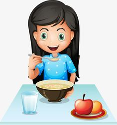 A smiling young lady eating breakfast Royalty Free Vector Preschool Classroom Rules, Body Preschool, Yoga For Kids, Art For Kids, Breakfast Clipart, Printable Preschool Worksheets, Printables, School Clipart, Action Words