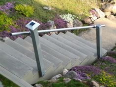 Added handrails to outdoor stairs to satisfy home insurance requirements. - Home Mortgage Insurance - See how home insurance affect your mortgage. - Added handrails to outdoor stairs to satisfy home insurance requirements. Exterior Handrail, Outdoor Stair Railing, Stair Railing Design, Stair Handrail, Railings, Iron Handrails, Railing Ideas, Outdoor Steps, Front Steps