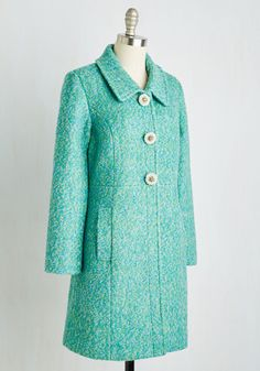 Snowfall in Love Coat in Aqua. Charm in arm with your sweetheart, you insist this colorfully marled coat enhances the enchantment of the falling flurries. #green #modcloth
