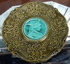 Antique Majolica : A rare Card Tray / Plate, probably French - Portrait Centre