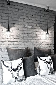 Apartment Decore 16 Beautiful Exposed Brick Wall Bedroom Ideas : Stylish Exposed Brick Wall Bedroom Design with Animal Print Pillows and Two Hanging Lamps al. Brick Wall Bedroom, Gray Bedroom, Trendy Bedroom, Master Bedroom, Bedroom Modern, Exposed Brick Bedroom, Bedroom Boys, Bed Wall, Exposed Wood