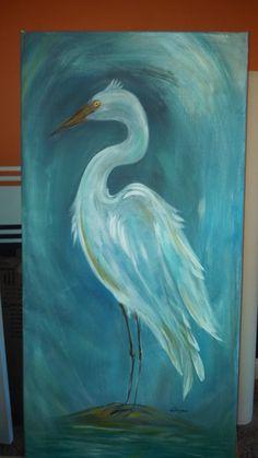 White crane beach island painting original bird on canvas blue herring picture South Carolina Florida swam marsh southern art decoration