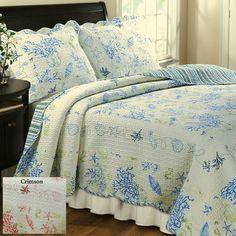 Coral Cotton Quilt Bedding Set