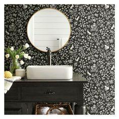 Magnolia Home wallpaper psw1164rl_ywdd99fox_hare_1ex Home Wallpaper, Wallpaper Roll, Peel And Stick Wallpaper, Wallpaper In Bathroom, Wallpaper Ideas, Wallpaper For Powder Room, Wall Paper Bathroom, Bathroom Wallpaper Black And White, Forest Wallpaper